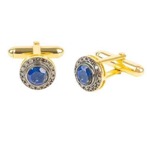 Diamond Gemstone Cufflink Lapis Lazuli Gold