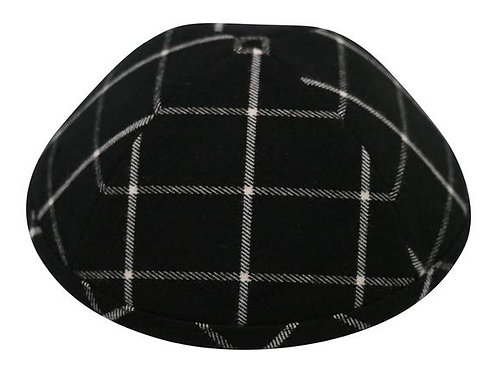 Ikippah Black Plaid Yarmulke