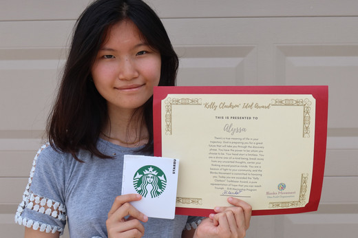 Alyssa Recipient of the Idol Award