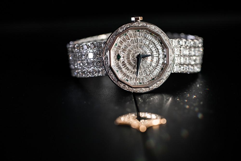 Graff diamond timepiece worn by Dubai bride.