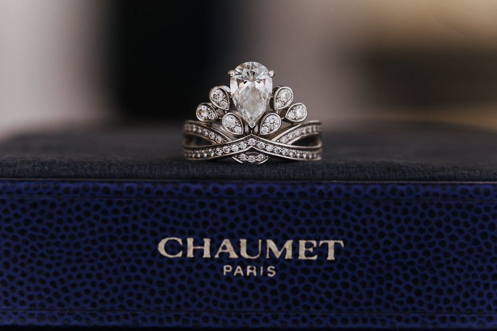 A Chaumet diamond ring at Dubai wedding.