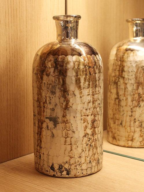 Aged silver colored bottle/vase large