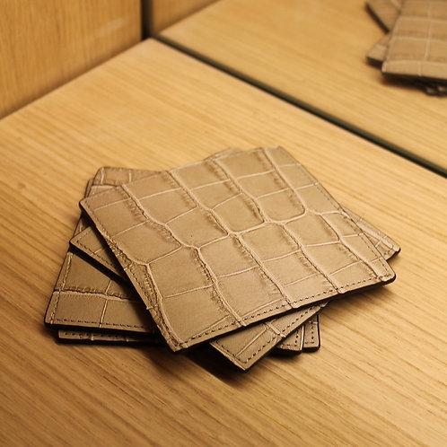 Set of 4 leather coasters
