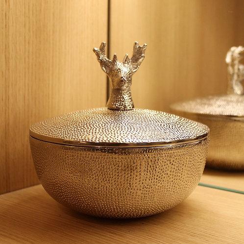 Deer bowl with lid metal large
