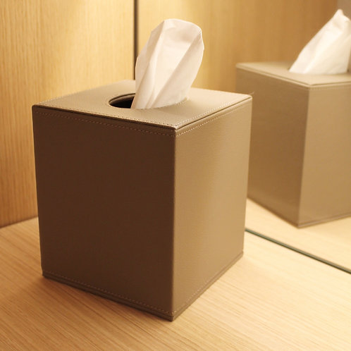 Premium leather tissue box taupe