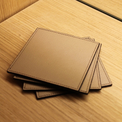 Set of 4 leather coasters