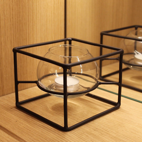 Photophore black frame and glass