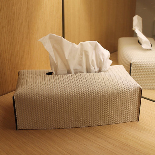 Premium leather tissue box off white colour