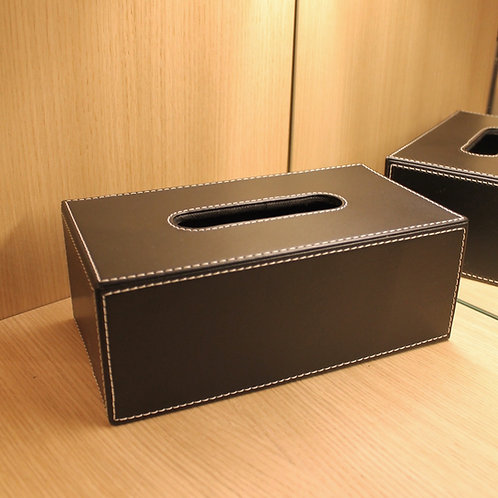 Leather tissue box chocolate colour