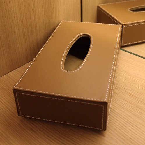 Leather tissue box camel colour