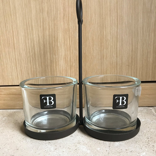 Glass containers in black steel stand