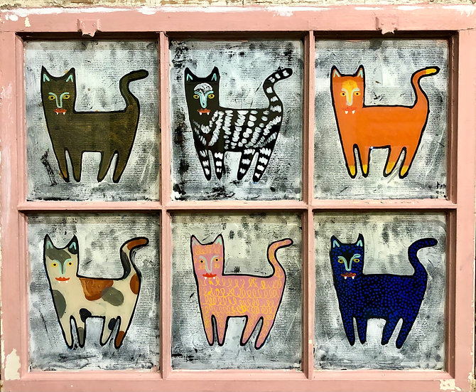Multi Cats - Pink by Jon Napoles