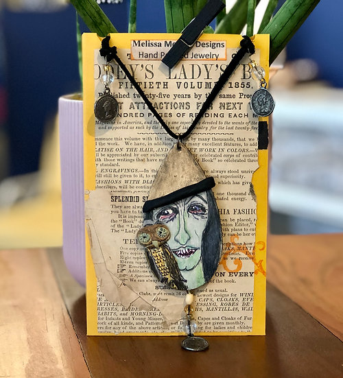 Witch and Owl Familiar Necklace by Melissa Menzer