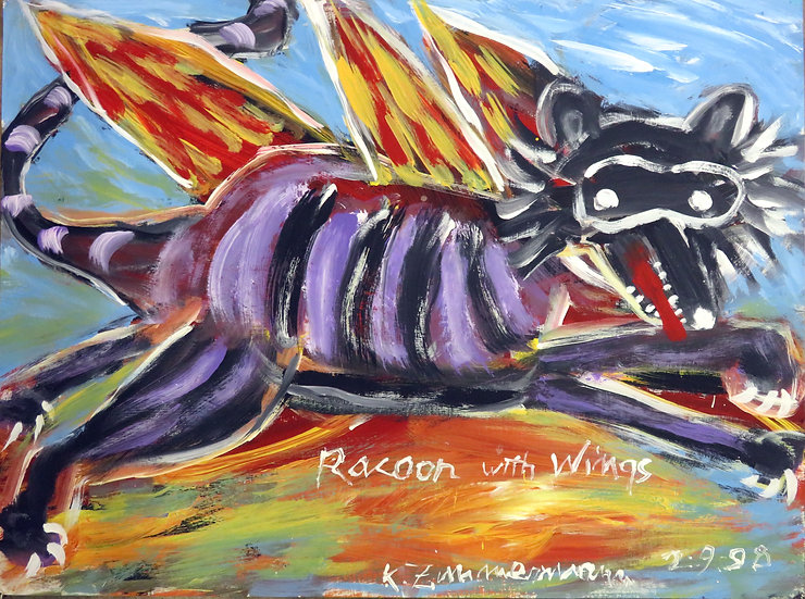 Raccoon with Wings by Kurt Zimmerman