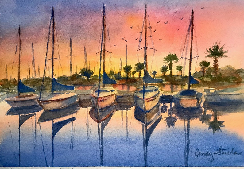 Sunrise over the Sanford Marina by Cindy Sturla