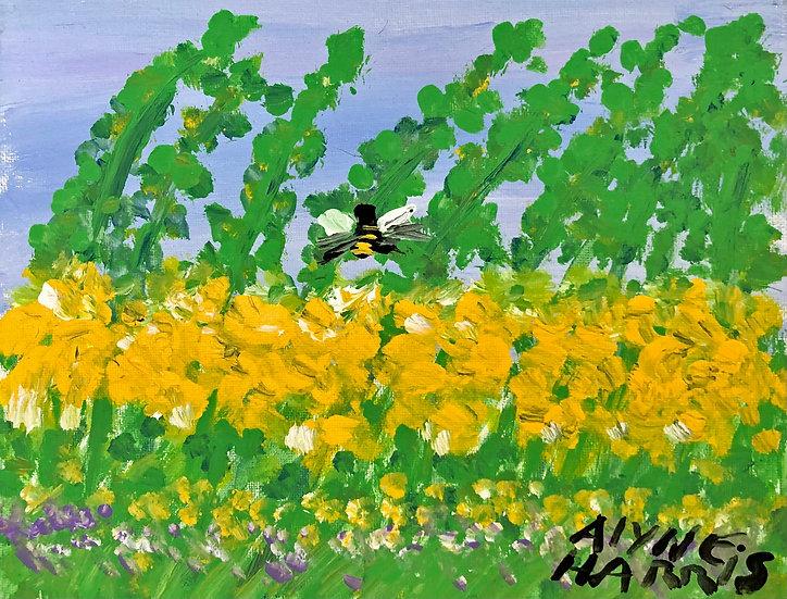 Bee in Yellow Field by Alyne Harris