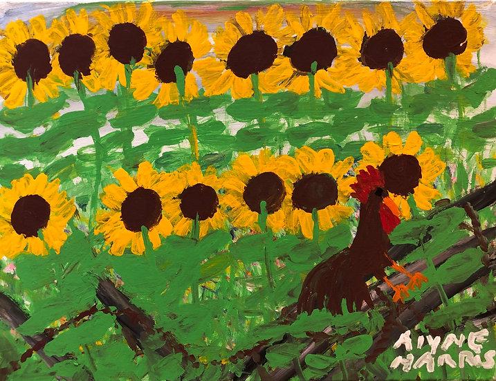 Rooster in the Sunflower Garden by Alyne Harris