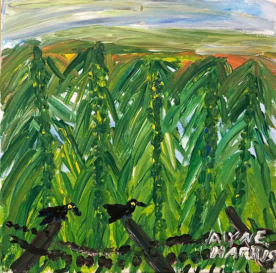Blackbirds on a Fence by Alyne Harris