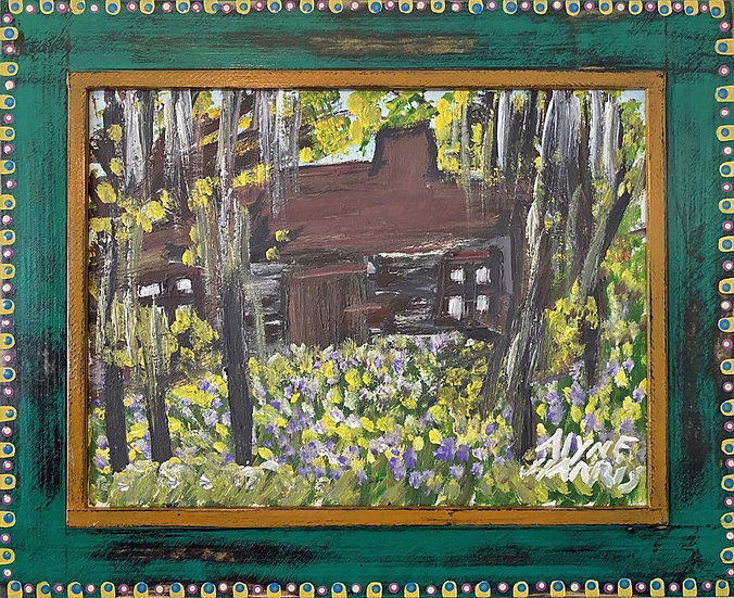 Cabin in the Woods with Wildflowers by Alyne Harris (Handmade Frame)
