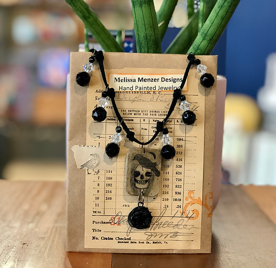Raven and Skull Necklace by Melissa Menzer