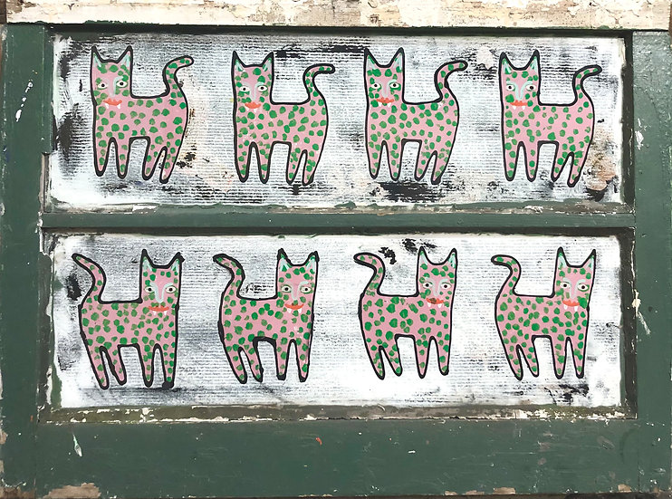 Pink and Green Cats by Jon Napoles