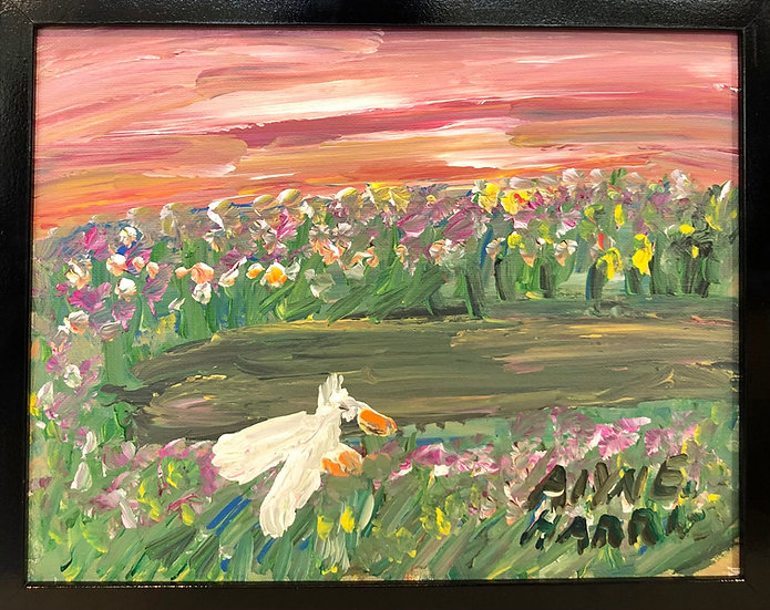 Bird at a Pond at Sunset by Alyne Harris