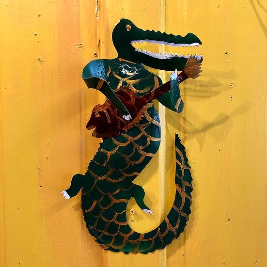 Alligator Playing Fish by Pat Juneau