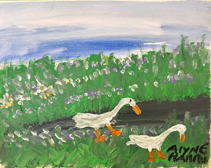 Two Swans Blue Sky by Alyne Harris