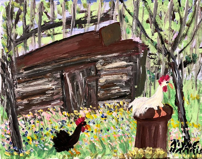Chickens Under Mossy Trees by Alyne Harris