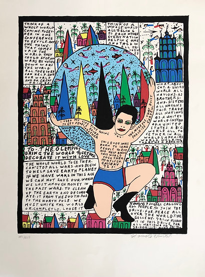 Going to the Olympics by Howard Finster Signed and Numbered by Purvis Young