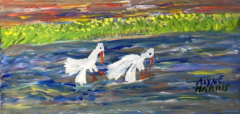 Two Birds in a Lake by Alyne Harris