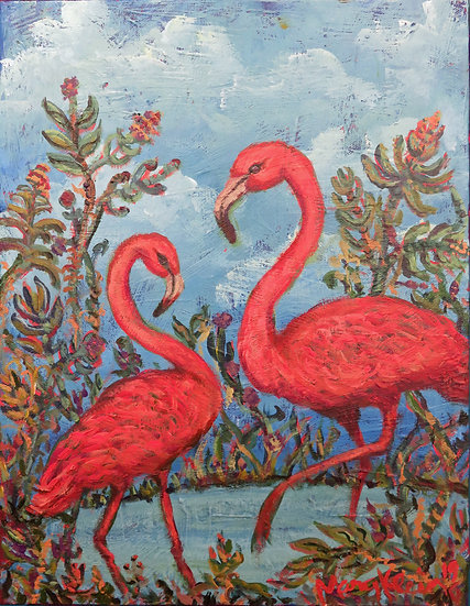Pink Flamingos by Mary Klein