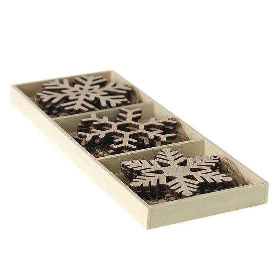 Wood Snowflake Ornament (Set of 12)