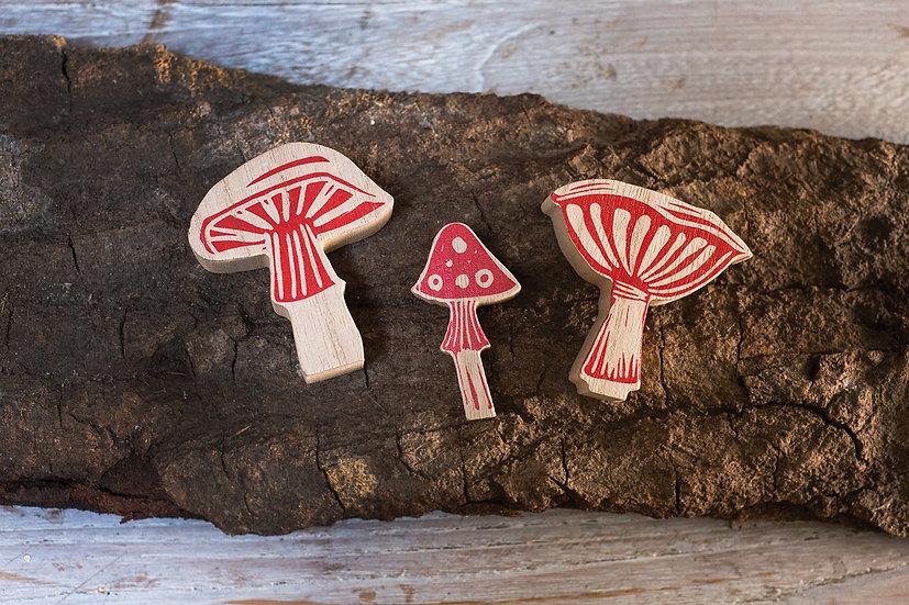 Woodblock Mushroom Set