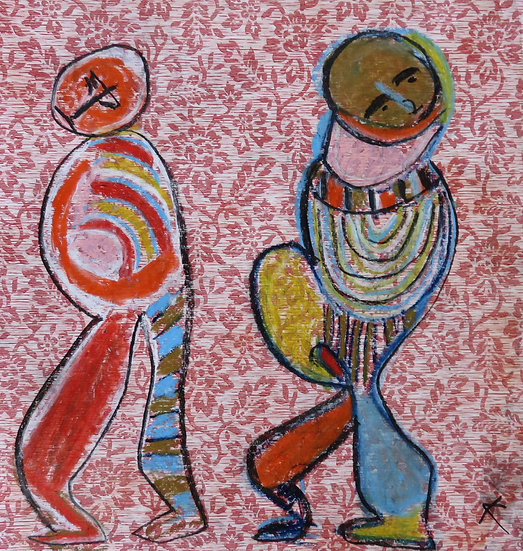 Two Figures on Red Wallpaper