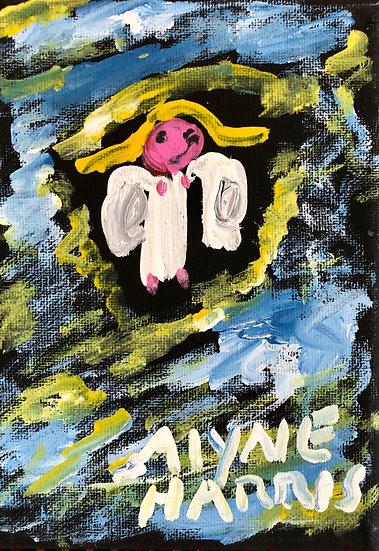 Angel on Black Canvas (C) by Alyne Harris