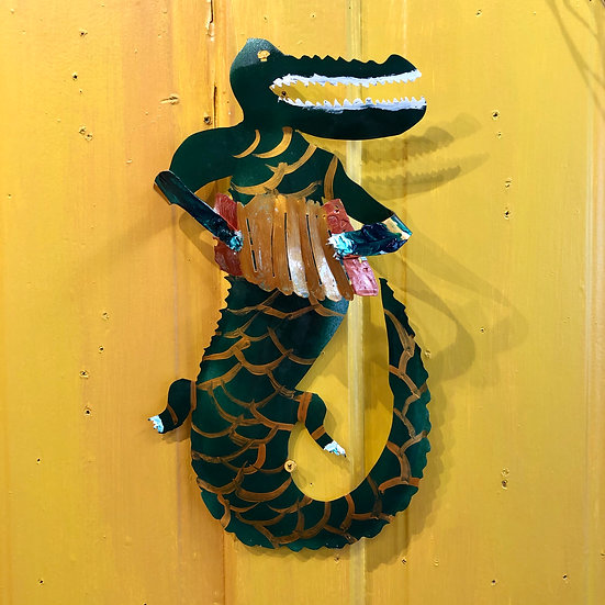 Alligator Playing Squeezebox by Pat Juneau