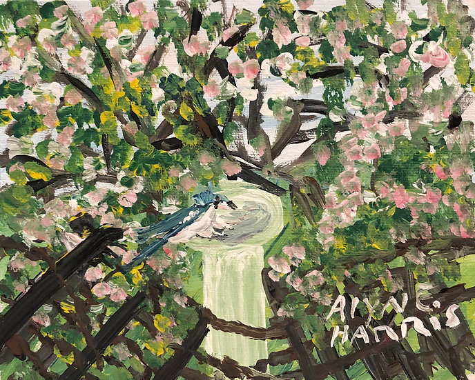 Bird in a Birdbath by Alyne Harris