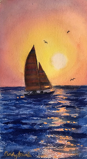Sailing into Sunset by Cindy Sturla