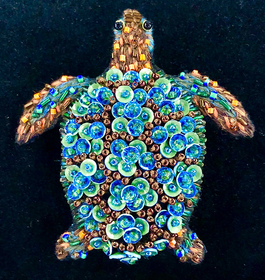 Aquamarine Turtle Brooch