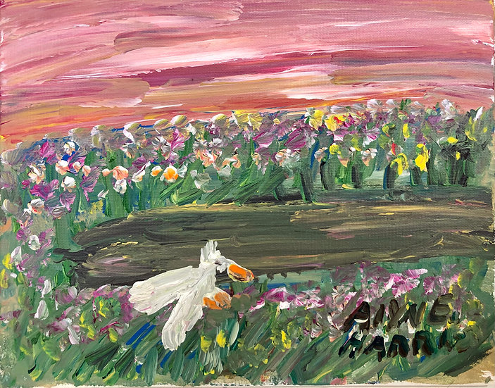 Swan at Pink Sunset by Alyne Harris