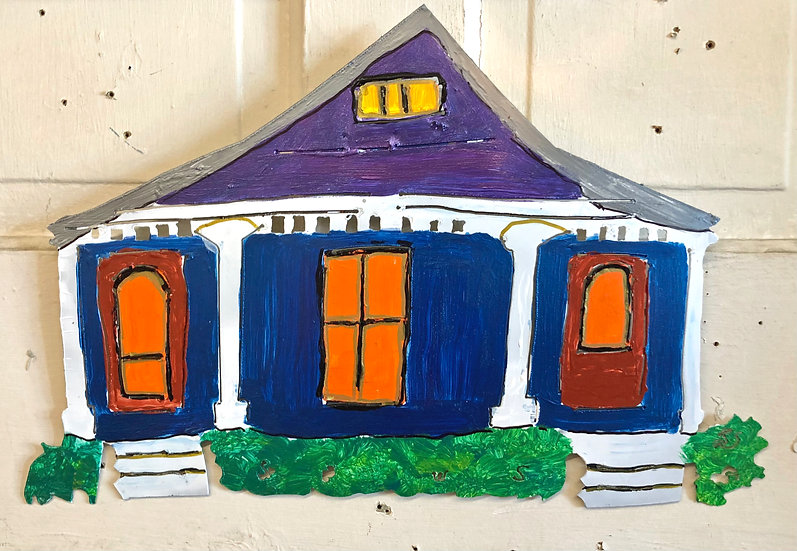 Large Blue Shotgun House by Pat Juneau