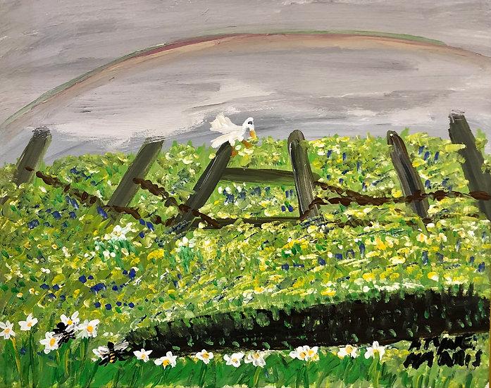 Bird on a Fence with Rainbow by Alyne Harris