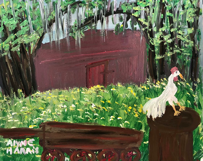 Rooster on a Stump by Alyne Harris
