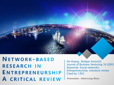 The review of Network-based research in Entrepreneurship A critical review