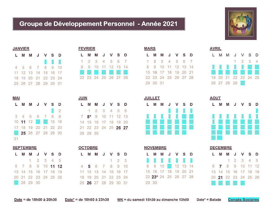 Calendrier Groupe de Développement Perso