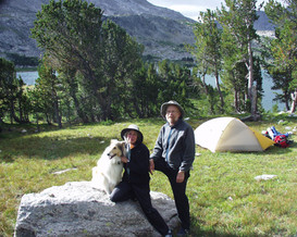 Pat, Ken and our collie backpackiing in the Wind River Range, Wyoming