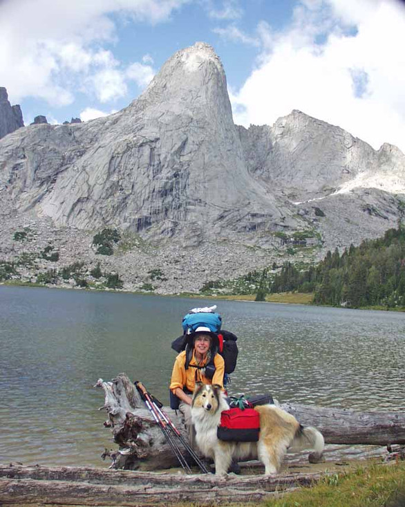 Pat and our Collie at Lonesome  Lake, Cirque of the Towers, Wind River Range