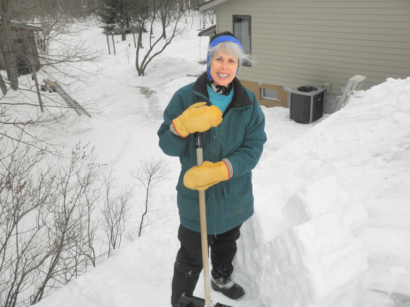 Pat helping shovel off the snow load on the garage