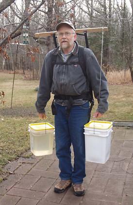 Home made pack frame/yoke for hauling maple sap.
